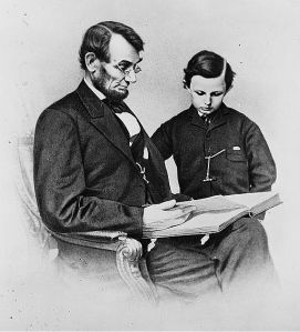 A photograph of the President and Thomas (Tad) made by Mathew B. Brady on February 9, 1864 CALL NUMBER: PRES FILE - Lincoln, Abraham--Portraits--Meserve Collection--No. 39